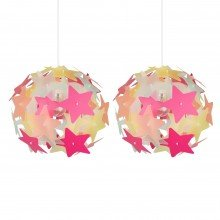 Set of 2 Multi Coloured Stars Easy Fit Light Shades