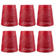 Set of 6 Red Wicker Easy Fit Light Shades