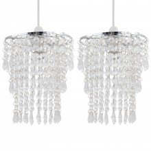 Set of 2 Clear Jewel Tiered Light Shades