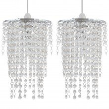 Set of 2 Cleared Jewelled Waterfall Light Shades