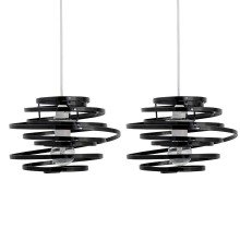 Set of 2 Black Metal Swirl Easy Fit Light Shades