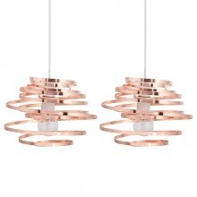 Set of 2 Copper Metal Swirl Easy Fit Light Shades