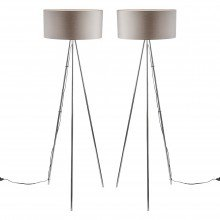 Pair of Chrome Tripod Floor Lamps with Grey Fabric Shades