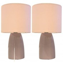 Set of 2 Clive - Pink Ceramic 25cm Table Lamp / Bedside Lights with Matching Shades