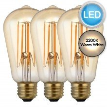 Set of 3 x E27 5W ST58 LED Bulbs in Warm White