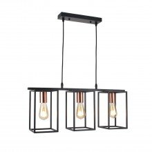 Matt Black With Brushed Copper Detail 3 Light Bar Pendant