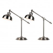 Set of 2 Satin Nickel Lever Arm Table Lamps
