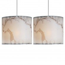 Set of 2 White Marble Print Ceiling Light Shades