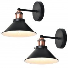 Set Of 2 Matt Black With Brushed Copper Wall Lights