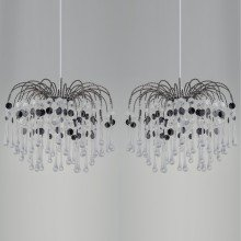 Set of 2 Clear & Black Waterfall Easy Fit Light Shades