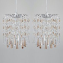 Set of 2 Clear and Champagne Acrylic Jewelled Easy Fit Light Shades
