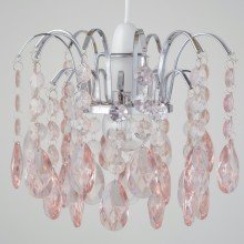 Blush Pink Acrylic Jewelled Easy Fit Light Shade