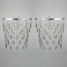 Set of 2 Smoke Jewels With Polished Chrome Easy Fit Light Shades