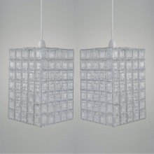 Set of 2 Clear Acrylic Jewelled Easy Fit Light Shades