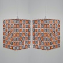 Set of 2 Copper, Amber & Smoke Acrylic Jewelled Easy Fit Light Shades