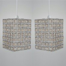 Set of 2 Clear & Smoke Acrylic Jewelled Easy Fit Light Shades