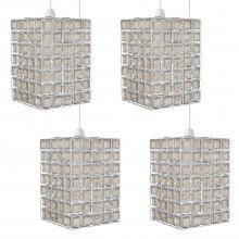 Set of 4 Clear & Smoke Acrylic Jewelled Easy Fit Light Shades