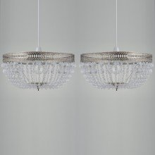 Set of 2 Antique Brass Deco Jewelled Easy Fit Light Shades