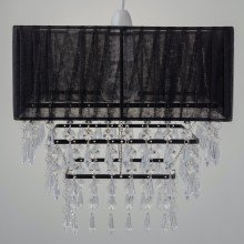 Black Organza With Clear Acrylic Jewelled Easy Fit Light Shade