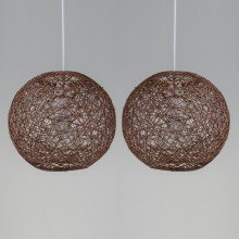 Set of 2 20cm Brown Abaca Easy Fit Light Shades