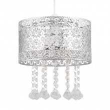 Chrome Cut Out Jewelled Easy Fit Light Shade