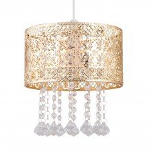 Gold Cut Out Jewelled Easy Fit Light Shade