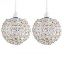 Set of 2 Amber Jewelled Globe Light Shades