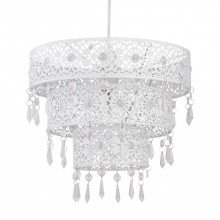 White Morrocan Styled Tiered Light Shade