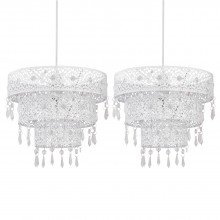 Set of 2 White Morrocan Styled Tiered Light Shades