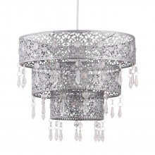 Silver Morrocan Styled Tiered Light Shade
