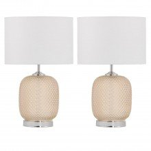 Set of 2 Soho - Amber Reflective Glass Lamps with White Shade
