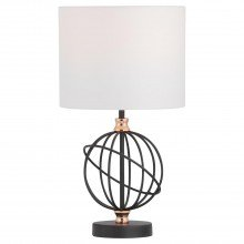 Orb - Black with Copper Detail 46cm Table Lamp