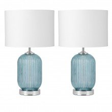 Set of 2 Turquoise Ribbed Glass Lamps with White Shades