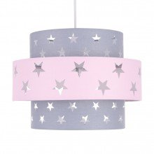 Navy Pink and Grey Star Two Tier Light Shade