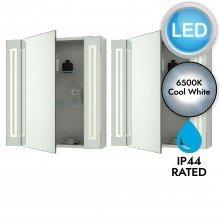Set of 2 Battery Operated LED Illuminated Bathroom Cabinets