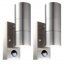 Set of 2 Blaze - Stainless Steel Outdoor Up Down Motion Sensor Wall Lights