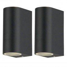 Set of 2 Drayton - Black Outdoor Twin Wall Lights