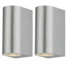 Set of 2 Drayton - Brushed Aluminium Outdoor Twin Wall Lights