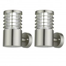 Set of 2 Bloom - Brushed Stainless Steel Outdoor Wall Lights