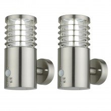 Set of 2 Bloom - Brushed Stainless Steel Outdoor Motion Sensor Lights