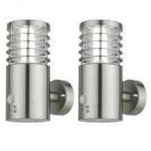 Set of 2 Bloom - Brushed Stainless Steel Outdoor Motion Sensor Lights