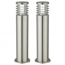Set of 2 Bloom - Brushed Stainless Steel Outdoor Post Lights