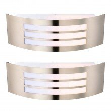 Set of 2 Camden - Stainless Steel Louvered Wall Lights