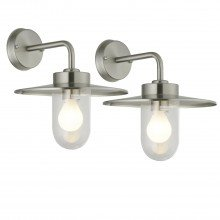 Set of 2 Montreal - Brushed Stainless Steel Outdoor Wall Lights