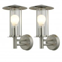 Set of 2 Treviso - Brushed Stainless Steel Outdoor Wall Lights