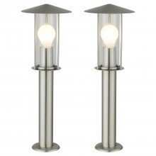 Set of 2 Treviso - Brushed Stainless Steel Outdoor Post Lights