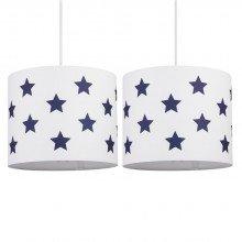 Set of 2 White with Blue Stars 25cm Light Shades