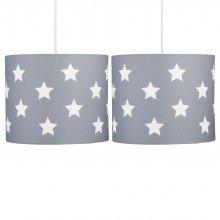 Set of 2 Grey with White Stars 25cm Light Shades