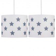 Set of 2 White with Grey Stars 25cm Light Shades