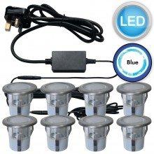 Set of 8 - 30mm Brushed Steel IP67 Blue LED Plinth Decking Kit